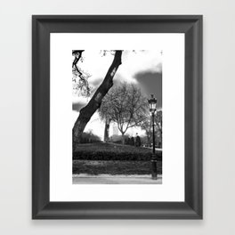 Cloudy day in the park Framed Art Print