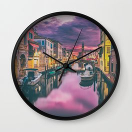 Canal and the Boats Wall Clock
