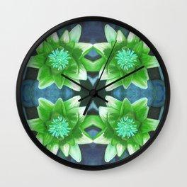 Blue Tropical Bromiliad Panel Wall Clock