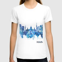 Hanover Germany Skyline Blue T-shirt