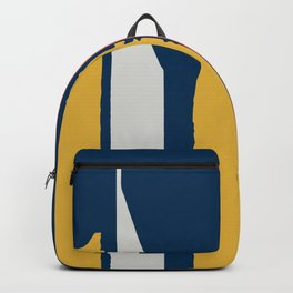 Brushstrokes in Coral, Yellow, and Gray on Blue Backpack