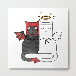 Angel & Demon Cats Metal Print