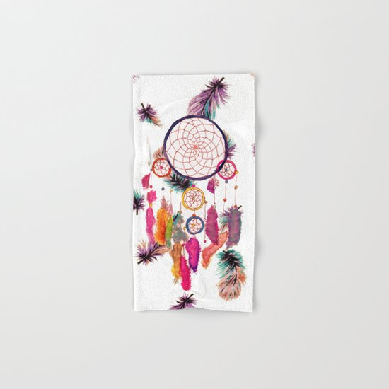 Hipster Watercolor Dreamcatcher Feathers Pattern  Hand & Bath Towel
