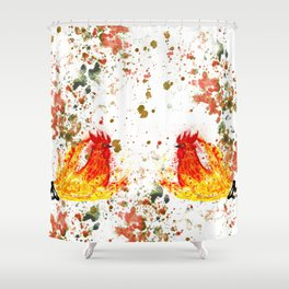 Fire watercolor rooster Shower Curtain