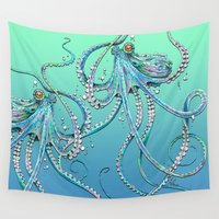drunk Wall Tapestries featuring Drunk Octopus by TAOJB