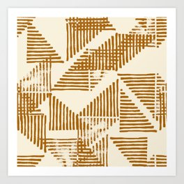 Stripe Triangle Block Print Geometric Pattern in Orange Art Print