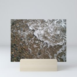 Wave Foam and Beach Rocks Mini Art Print