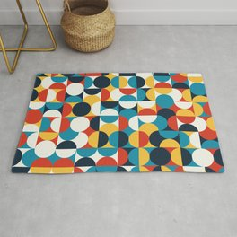 Geometric Circles Abstract Colorful Art Retro Pattern Rug