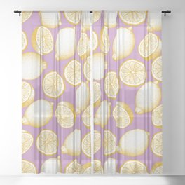Lemons On Pink Background Sheer Curtain