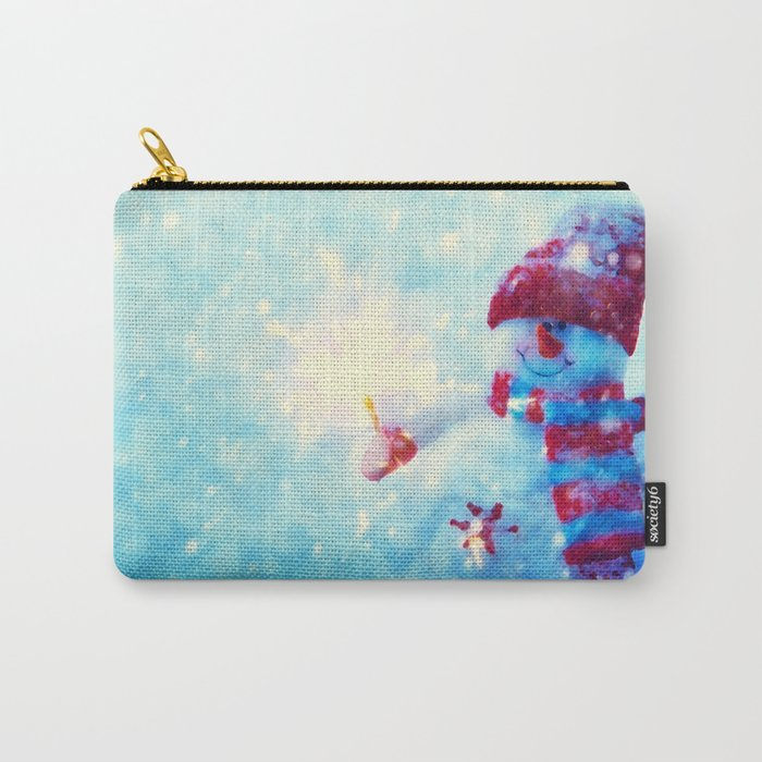 Cute snowman watercolor freeze Carry-All Pouch