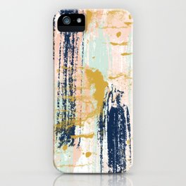 Blush, Gold, Navy, White, Mint Abstract  iPhone Case