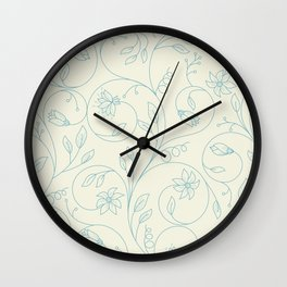 Floral tenderness. Cute floral pattern in pastel colors. Wall Clock