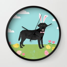 Black Lab labrador retriever dog breed pet art easter portrait costume spring Wall Clock