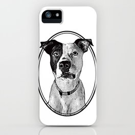 Pit Bull with oval frame iPhone Case