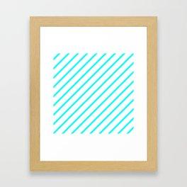 Diagonal Lines (Aqua Cyan/White) Framed Art Print