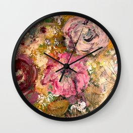 Romantic expressionistic flowers Wall Clock