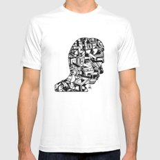 Self Portrait PM MEDIUM White Mens Fitted Tee