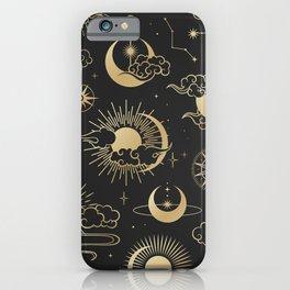 Black & Gold Sun Moon & Star Pattern iPhone Case