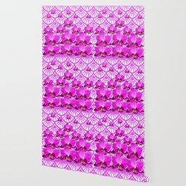 PURPLE ART DECO PATTERN ORCHIDS PATTERN ABSTRACT Wallpaper