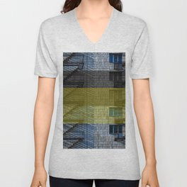 Facade with fire stairs Unisex V-Neck