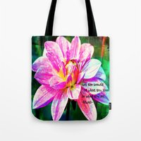 quotes Tote Bags featuring Quotes-Rumi by haroulita