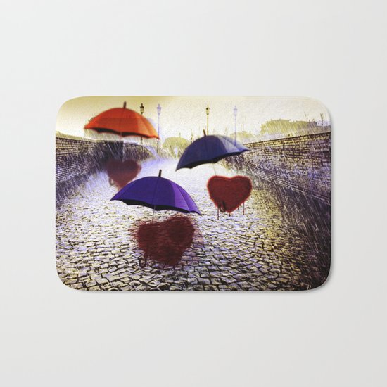 Three Lonely Hearts In the Rain Bath Mat