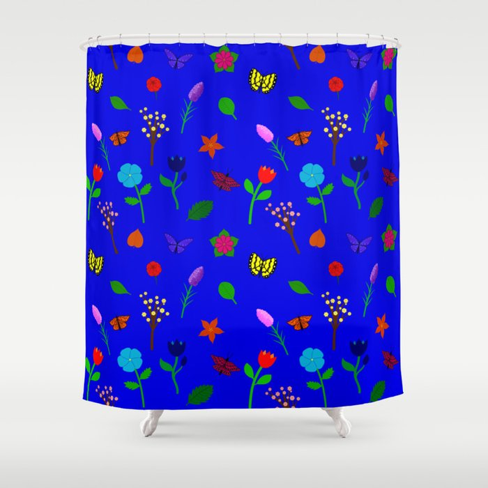 Scattered Flowers and Butterflies, blue background Shower Curtain