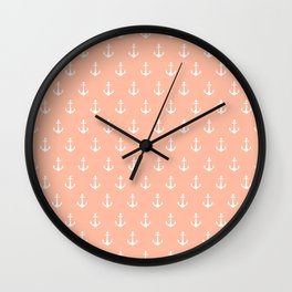 Coral white trendy modern nautical anchor pattern Wall Clock