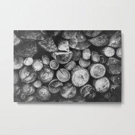 Logs of fire wood | Black and White | Lumber | Nature | By Magda Opoka Metal Print