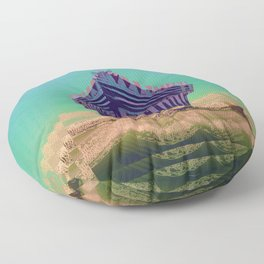 Surfing The Big Wave Searching Mermaids Floor Pillow