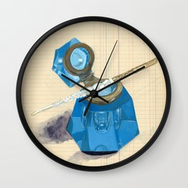 Blue Crystal Inkwell and Dip Pen in Gouache Wall Clock