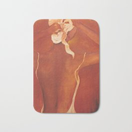 Woman in White Turban Bath Mat