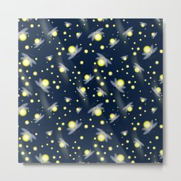 Fireflies at Night Metal Print