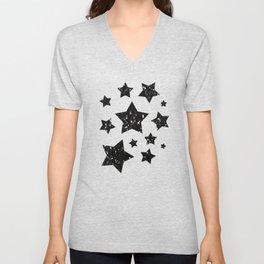 Black and white shiny glitter sparkles Unisex V-Neck