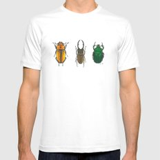 Illustration of Three Beetles MEDIUM White Mens Fitted Tee