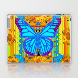 Lime Sunflower Blue Butterfly Floral Laptop & iPad Skin
