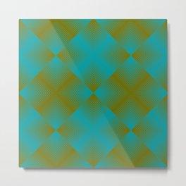 gradient squares pattern aqua olive Metal Print
