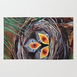 Baby Birds in Nest Rug
