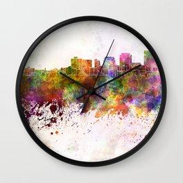 Dayton skyline in watercolor background Wall Clock