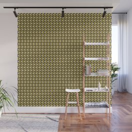 Geometric pattern with half-circles on squares in black, yellow-gold and ocher Wall Mural