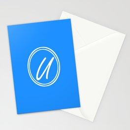 Monogram - Letter U on Dodger Blue Background Stationery Cards