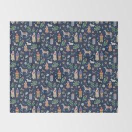 Swedish Folk Art - Blue Throw Blanket