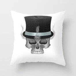 Smoking Skull PNG Throw Pillow