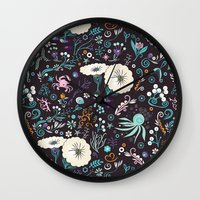 Subsea floral pattern Wall Clock