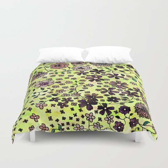 Brown Small Flowers Duvet Cover