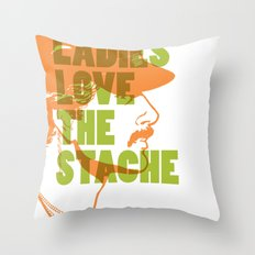 Ladies Love the Mustache Throw Pillow