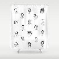 nicolas cage Shower Curtains featuring 100 Portraits of Nicolas Cage by Madelin Woods