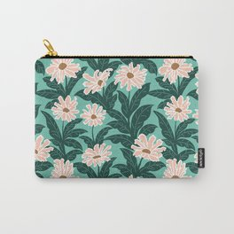 Pink Daisies Green Background - Repeat Floral Pattern Carry-All Pouch