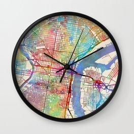 Philadelphia Pennsylvania City Street Map Wall Clock