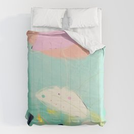 minimal floral abstract art Comforters